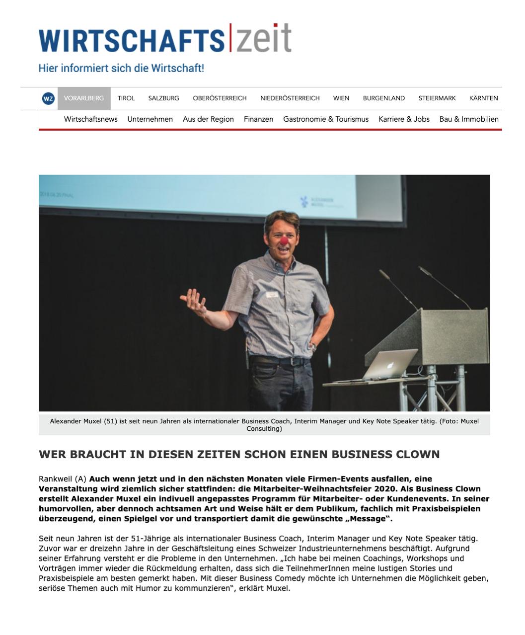 Business Clown Alexander Muxel Consulting Comedy Vorarlberg Coach Wirtschaftszeit PR 2020.03.26