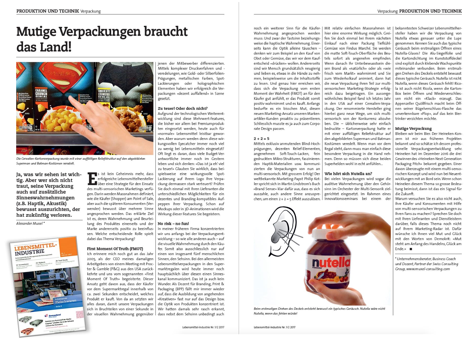 Multi-sensorisches Marketing, Artikel Mutige Verpackungen braucht das Land! in Lebensmittel-Industrie Alexander Muxel