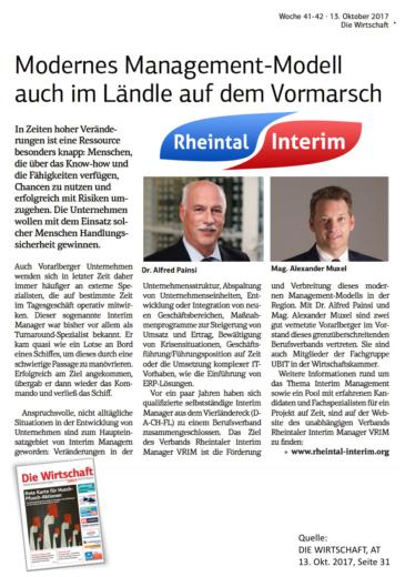 VRIM PR Die Wirtschaft 2017.10.13.alexander muxel consulting interim management manager auf zeit