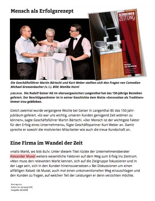 Schreiner-Zeitung-Alexander-Muxel-Consulting-PR-2018-06-Keynote-Speaker-Schweiz.Auszug
